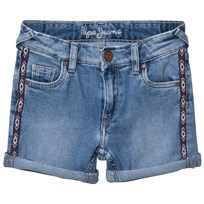 Pepe Jeans Blue Melanie Zig Zag Side Trim Denim Shorts 000