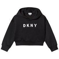 DKNY Black Branded Scuba Cropped Hoody 09B