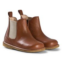 Angulus Chestnut Brown Zip Chelsea Boots with Beige Elastic 1431