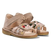 Angulus Gold Shimmer Flower Embroidered Suede Sandals FANTASTIA 2181