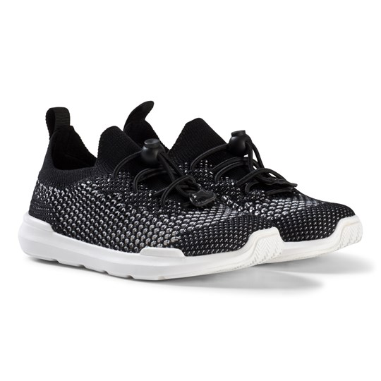 AKID Black and White Sutherland Knit Sneakers BLACK AND WHITE KNIT