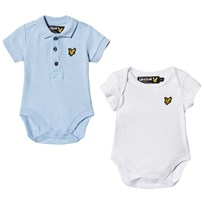 Lyle & Scott Blue and White Baby Body 2 Pack in Gift Box Blue Marl