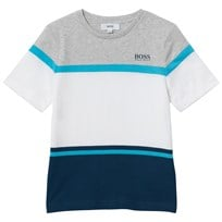 BOSS Grey and White Color Block Branded Tee 851