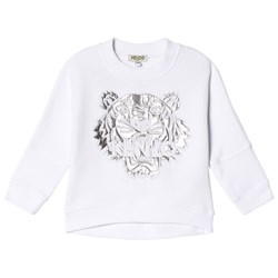 Kenzo White and Silver Embroidered and Metallic Batwing Sweatshirt