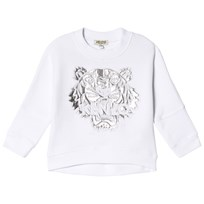 Kenzo White and Silver Embroidered and Metallic Batwing Sweatshirt 01