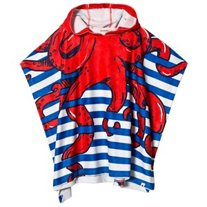 Image of Billybandit Blue and White Stripe with Octopus Hood Bath Robe T2 (8-12 years) (2962704531)