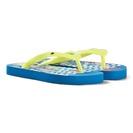 Billybandit Blue and White with Yellow Stripe Flip Flops 869-PERROQUET