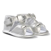 Absorba Silver Bow Crib Sandals 21