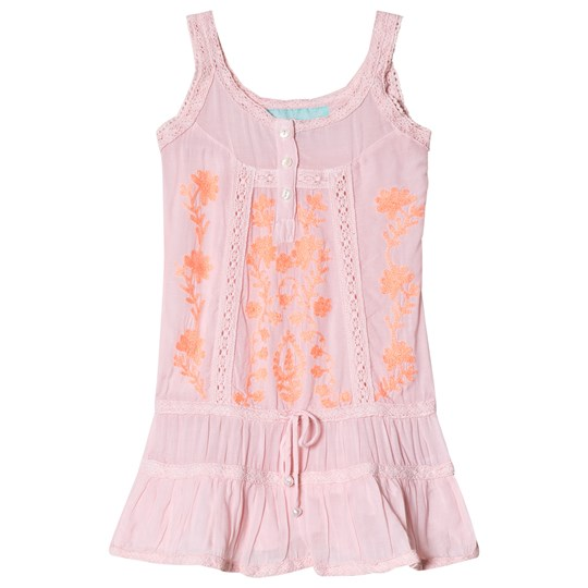 Melissa Odabash Pink and Coral Embroidered Jaz Beach Dress Pale Pink