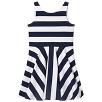 Ralph Lauren Navy and White Stripe Fit and Flare Ponte Dress 001