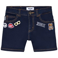 Moschino Kid-Teen Dark Wash Badge Branded Denim Shorts 70752