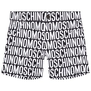 Image of Moschino Kid-Teen Black and White All Over Branded Shorts 3 years (2963554445)