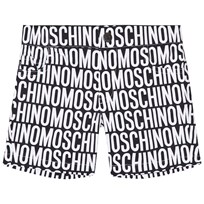 Moschino Kid-Teen Black and White All Over Branded Shorts 83190