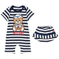 Moschino Kid-Teen Sailor Print Romper Set Marinblå/Vit 80470