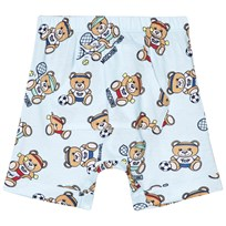 Moschino Kid-Teen Pale Blue Bear Sport All Over Print Jersey Shorts 83203