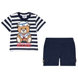 Moschino Kid-Teen Navy Sailor Bear Print Branded Tee and Shorts Set