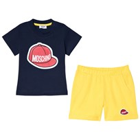 Moschino Kid-Teen Navy Baseball Cap Logo Tee and Shorts Set 83968