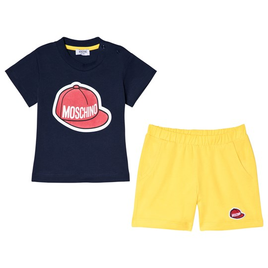 Moschino Kid-Teen Baseball Cap Logo T-shirt och Shorts Set Marinblå 83968