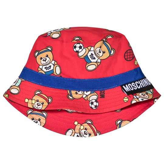 Moschino Kid-Teen - Red Sport Bear All Over Print Bucket Hat ... fe0a3232885