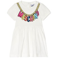 Moschino Kid-Teen White Logo Necklace Print Jersey Dress 10063