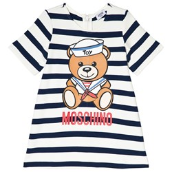 Moschino Kid-Teen Navy and White Sailor Bear Print Knit Baby Dress