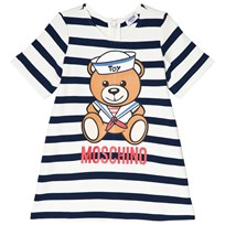Moschino Kid-Teen Sailor Bear Print Stickad Klänning Marinblå/Vit 81673
