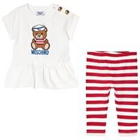 Moschino Kid-Teen Sailor Bear T-shirt och Randiga Leggings Set Vit 80469