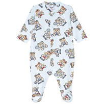 Moschino Kid-Teen Blue All Over Bear Print Babygrow in Giftbox 83207