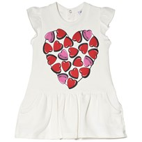 Moschino Kid-Teen White Heart Branded Print Jersey Dress 10063