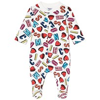 Moschino Kid-Teen White All Over Letter Branding and Heart Babygrow 83211