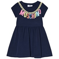 Moschino Kid-Teen Navy Branded Necklace Logo Jersey Dress 40016