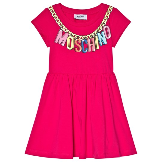Moschino Kid-Teen Pink Branded Necklace Logo Jersey Dress 50844
