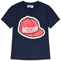 Moschino Kid-Teen Baseball Cap Logo T-shirt Marinblå 40016