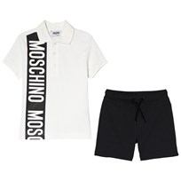 Moschino Kid-Teen White Branded Stripe Polo and Jersey Shorts Set 80610