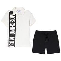 Moschino Kid-Teen Branded Stripe Pikétröja och Jersey Shorts Set Vit 80610
