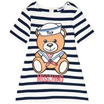 Moschino Kid-Teen Navy and White Sailor Bear Print Knit Dress 81673