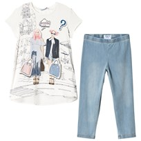 Mayoral White Shopping Girls Tee and Trousers Set 30