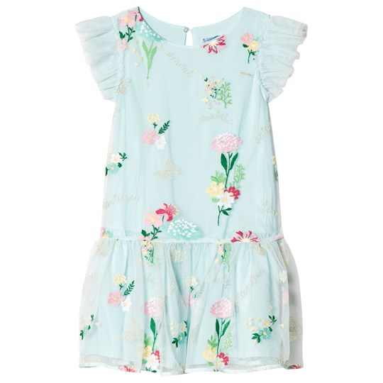 Mayoral Aqua Floral Embroidered Tulle Dress 57