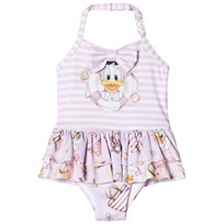 Monnalisa Pink Donald Duck and Stripe Frill Swimsuit 9990