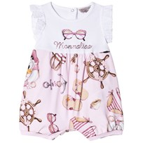 Monnalisa Pink Donald Duck and Sunglasses Print Diamante Romper 90