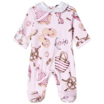 Monnalisa Pink Donald Duck Nautical Print Lace Collar Footed Baby Body 90