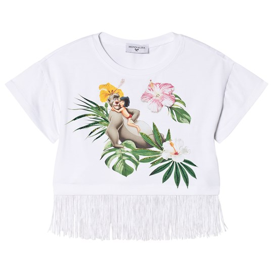 cffd44fee Monnalisa - White Jungle Book Print and Diamante Fringe Top ...