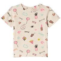 Soft Gallery Bass Fun Print T-shirt Cream Melange Cream Melange AOP Fun