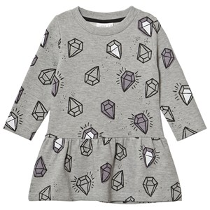 Image of Little Man Happy Diamonds Skater Dress Grey 104-110 (4-5 years) (2964313569)