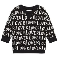 Little Man Happy Lover Loose Sweater Black Black with white