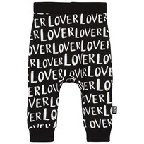 Little Man Happy Lover Sweatpants Black Black with white
