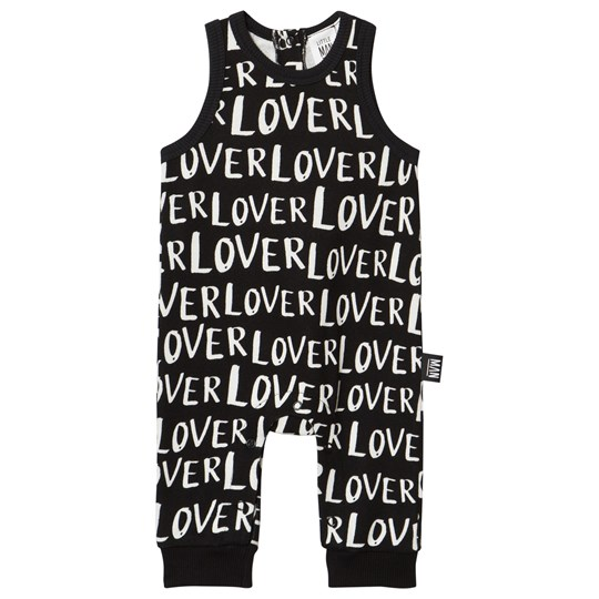 Little Man Happy Lover Jumpsuit Black Black with white