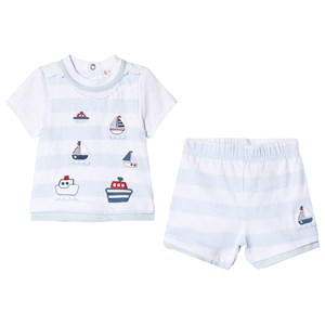 Image of Mintini Baby Blue Striped Top and Shirt with Boat Print 3 mdr (2964314633)