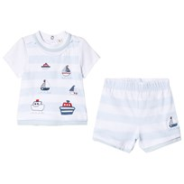 Mintini Baby Blue Striped Top and Shirt with Boat Print Blue