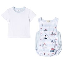 Mintini Baby Blue Top and Romper Overalls with Boat Print Blue